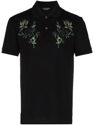 Alexander Mcqueen Rose Embroidered Polo Shirt Black