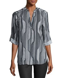 Joan Vass 3 4 Sleeve Graphic Print Blouse Black Gray