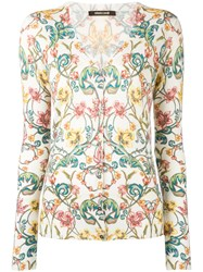 Roberto Cavalli Floral Patterned Cardigan Nude Neutrals