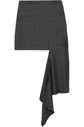 Balenciaga Asymmetric Checked Wool Twill Skirt Brown