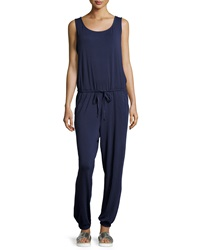 Max Studio Sleeveless Drawstring Jumpsuit Navy