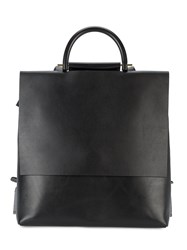 Building Block Flat Backpack Women Leather One Size Black