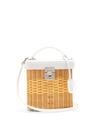 Mark Cross Benchley Rattan And Leather Shoulder Bag White