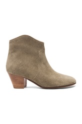 Isabel Marant Dicker Calfskin Velvet Booties In Neutrals