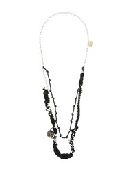 Oamc Layered Braided Necklace Black