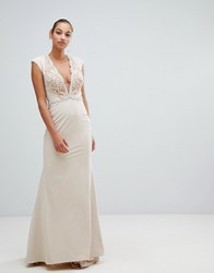 Forever Unique Lace Trim Maxi Dress Light Pink