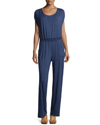 Max Studio Jersey Scoop Neck Jumpsuit Heather Indigo