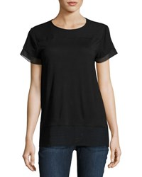 Chelsea And Theodore Short Sleeve Round Neck Top Black
