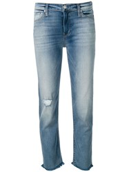 Hudson Cropped Distressed Jeans Blue