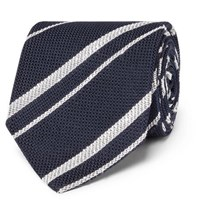 Drakes Drake's 8Cm Striped Silk Grenadine Tie Navy
