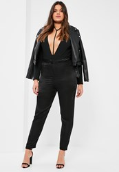 Missguided Plus Size Exclusive Black Satin Trousers