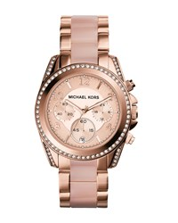 Mid Size Rose Golden Stainless Steel Blair Chronograph Glitz Watch Michael Kors
