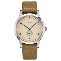 Longines L28134660 'S Heritage Automatic Leather Strap Watch Brown Cream