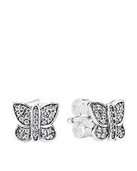 Pandora Design Pandora Earrings Sterling Silver And Cubic Zirconia Sparkling Butterfly Studs
