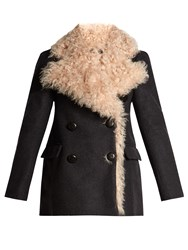 Isabel Marant Berit Double Breasted Shearling Lined Coat Grey