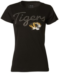 Myu Apparel Women's Short Sleeve Missouri Tigers Sequin T Shirt Black