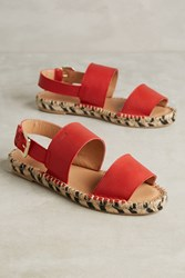 Anthropologie Alohas Double Strap Espadrilles Red