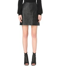 Karen Millen Floral Quilted Faux Leather Mini Skirt Black