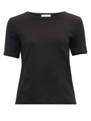 The Row Leah Ribbed Cotton Blend Jersey T Shirt Black
