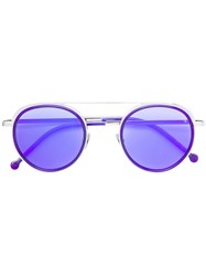Cutler And Gross Round Aviator Style Sunglasses Blue