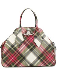 Vivienne Westwood Plaid Print Tote Bag Red