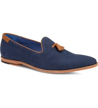 Oliver Sweeney London Avisse Tasselled Canvas And Leather Loafers Navy