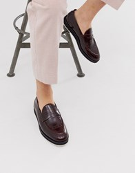 House Of Hounds Bowie Loafers In Burgundy Hi Shine Leather Red