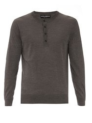 Dolce And Gabbana Long Sleeved Silk Knit Henley Top