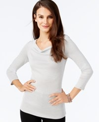 Inc International Concepts Draped Cowl Neck Top Only At Macy's Silver