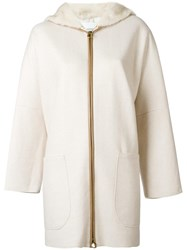 Agnona Zip Up Hooded Coat Nude Neutrals