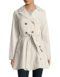 Laundry By Shelli Segal Double Breasted Hooded Trench Coat Light Pearl