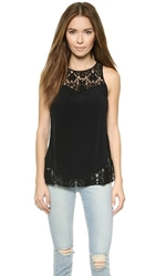 Rebecca Taylor Lace And Crepe Tank Black