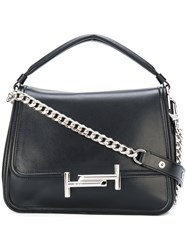 Tod's Double T Shoulder Bag Women Leather One Size Black