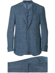 Corneliani Plaid Single Breasted Suit Blue