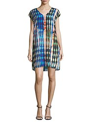 Leo And Sage Cap Sleeve Silk Shift Dress Multi