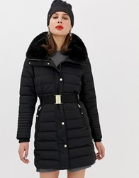 Esprit Mid Padded Jacket With Faux Fur Hood In Black