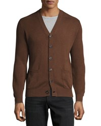 Brunello Cucinelli Patch Pocket Ribbed Trim Cardigan Brown Gray
