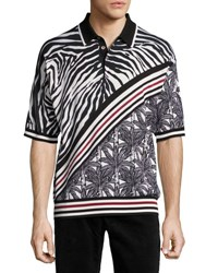 Dolce And Gabbana Zebra Palm Tree Polo Shirt Black White Red Multi