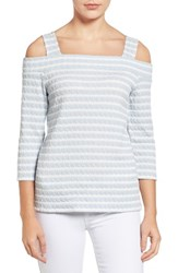 Kut From The Kloth Women's Fridi Texture Stripe Cold Shoulder Top Blue White