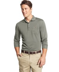 Greg Norman For Tasso Elba 5 Iron Long Sleeve Performance Golf Polo Only At Macy's City Taupe