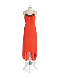 Design Lab Lord And Taylor Beaded Hi Lo Maxi Dress Bright Orange