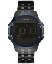 Guess Men's Digital Chronograph Black Ion Plated Stainless Steel Bracelet Watch 46Mm U0786g2