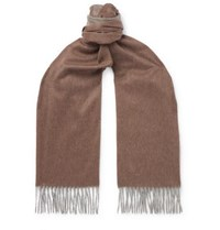 Emma Willis Fringed Colour Block Cashmere Scarf Brown