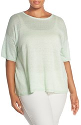 Plus Size Women's Eileen Fisher Organic Linen Round Neck Short Sleeve Sweater Celadon