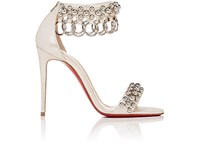 Christian Louboutin Women's Gypsandal Ankle Cuff Sandals Silver Gold