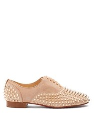 Christian Louboutin Freddy Studded Leather Derby Shoes Nude Gold