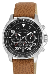 Vince Camuto Leather Strap Watch Tan Black