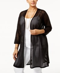 Alfani Plus Size Sheer Stripe Open Front Cardigan Only At Macy's Deep Black
