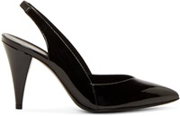 Saint Laurent Black Patent Leather Slingback Heels