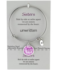 Unwritten Sisters Adjustable Message Bangle Bracelet In Stainless Steel Silver